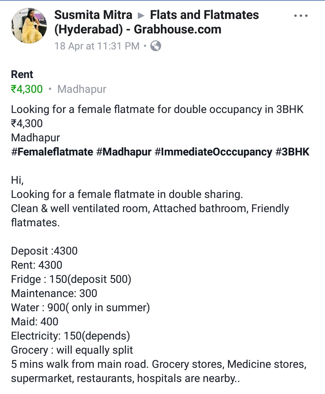 Need a female flatmate for double occupancy in 3BHK